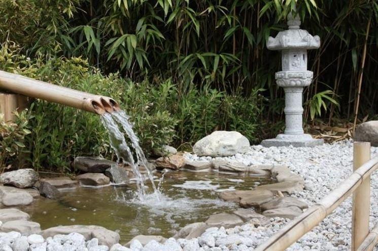 Una caratteristica fontana per giardini zen