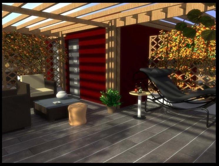terrazzo con copertura parziale