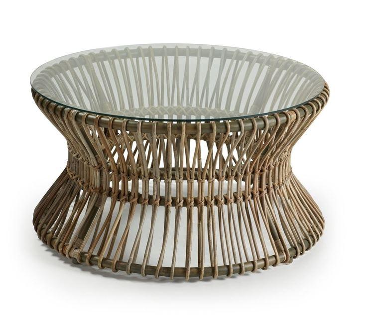 Tavolo con supporto in vimini e ripiano in vetro