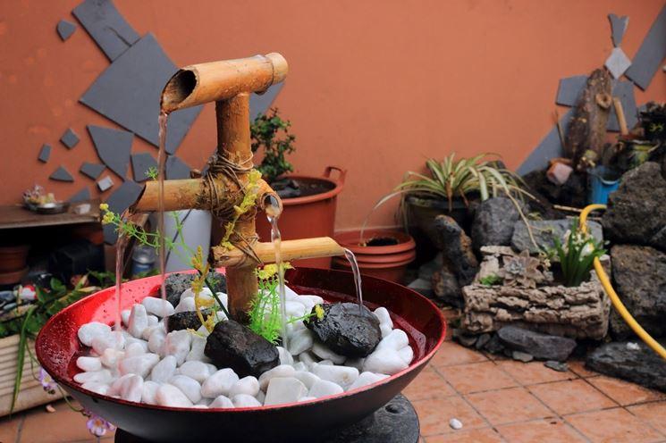 Esempio fontana zen in bambù