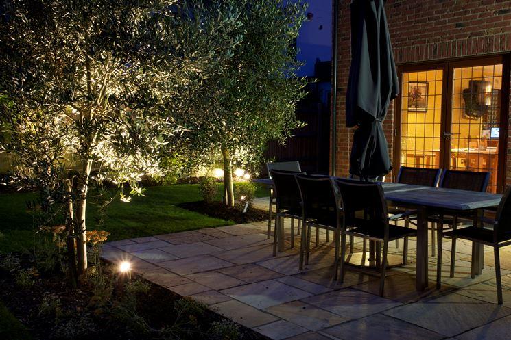 giardino illuminato con sensore crepuscolare