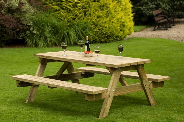 Tavolo giardino con panca in legno