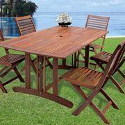 Set tavolo e sedie in legno da giardino