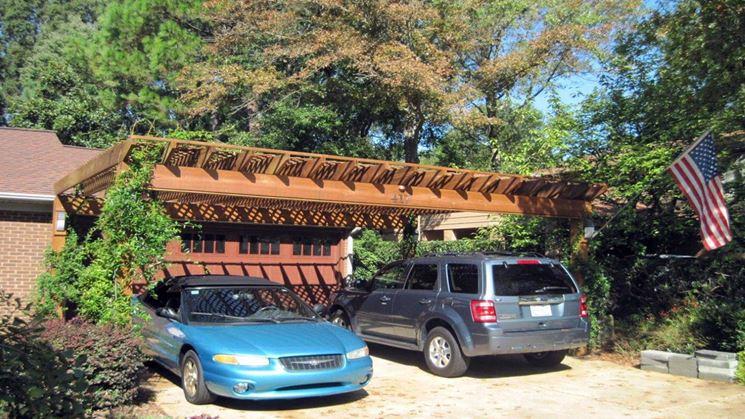 copertura per auto in legno