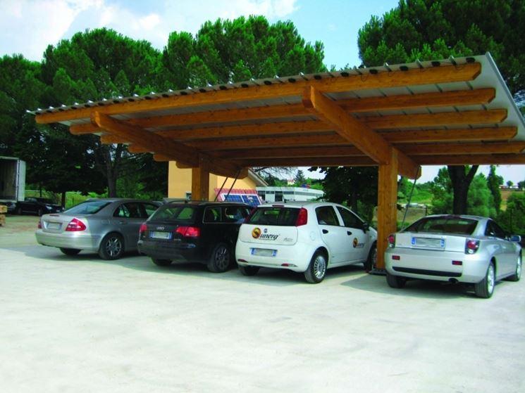 pensilina fotovoltaica in legno come parcheggio