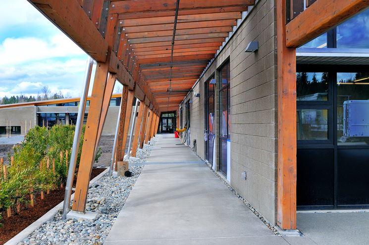 pensilina fotovoltaica in legno al Brightwater Center di Seattle