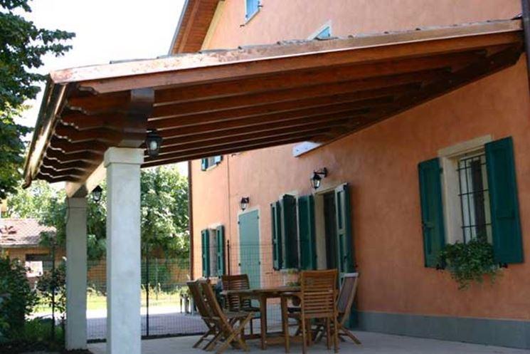 Pensiline in vetro pergole e tettoie da giardino - Tettoie in legno per esterno ...