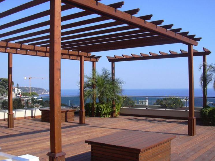 Plafoniere Per Tettoie In Legno : Terrazzi in legno pergole e tettoie da giardino