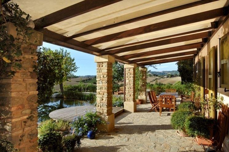 ... - pergole e tettoie da giardino - Tettoia in legno caratteristiche