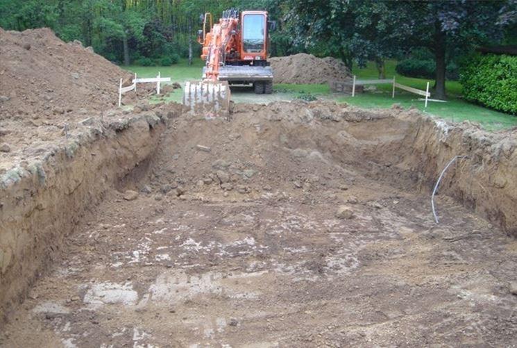 Scavo per piscina interrata con escavatore.