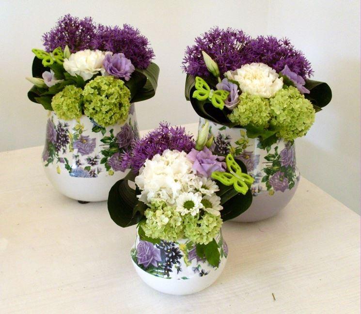 Composizioni fiori secchi in vasi di vetro vu66 - Decorazioni fiori finti ...
