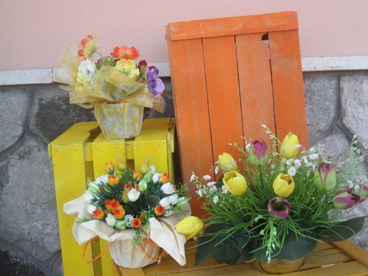 Composizioni fiori finti per Pasqua
