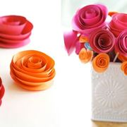 Bouquet di rose arancio e fucsia realizzate con cartapesta