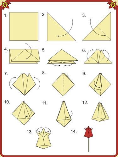 Istruzioni per piegare un origami semplice
