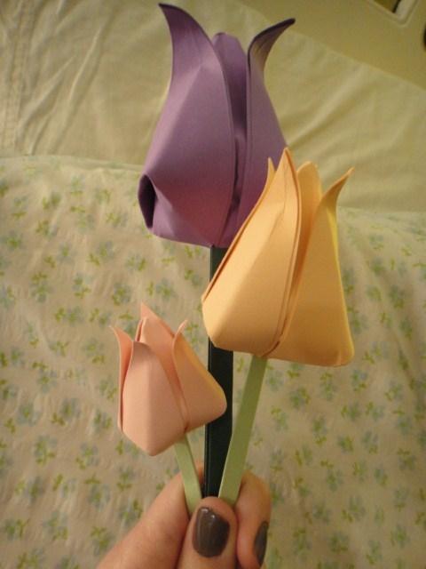 Mazzo Di Fiori Origami.Piegare Un Origami Fiore Di Tulipano Fiori Di Carta Origami