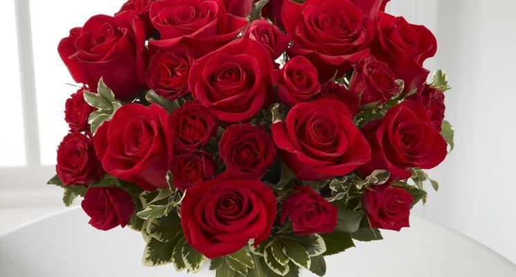 un bouquet di splendide rose rosse
