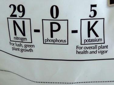 Etichetta di fertilizzante chimico