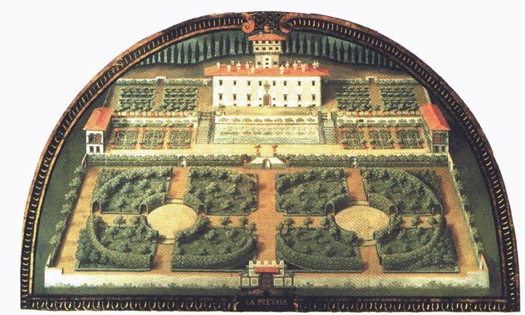 Antica immagine del giardino di villa Medici