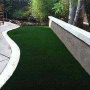Particolare di giardino con manto erboso sintetico