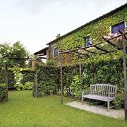 Casa con giardino verde