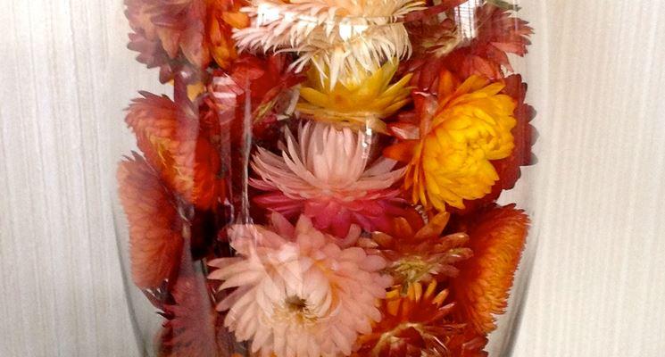 Bicchiere decorato con fiori di elicriso