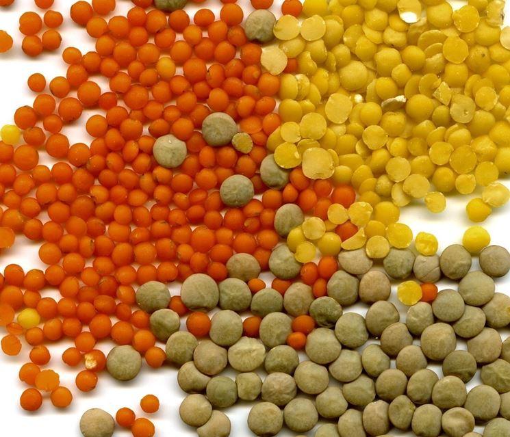 Lenticchie di diversi colori e dimensioni