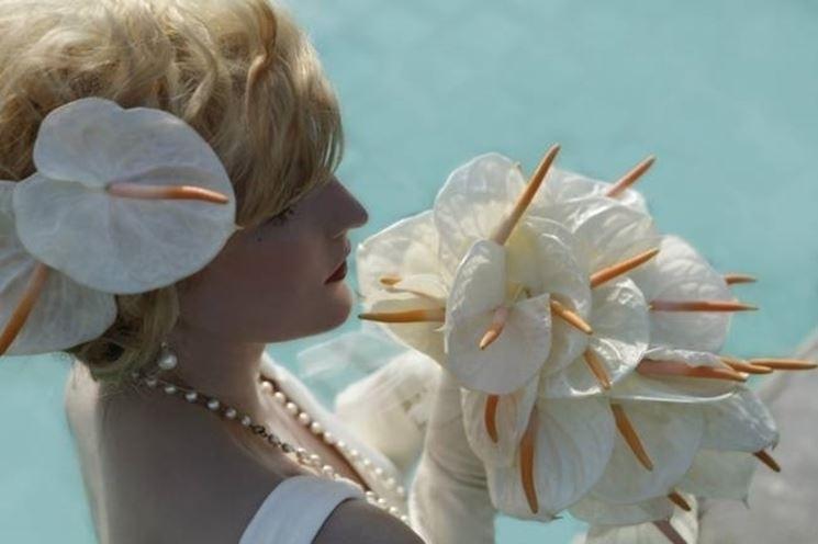 Bouquet di anthurium bianchi