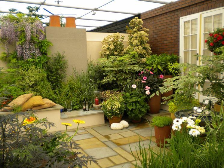 terrazza giardino vasi